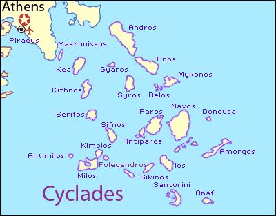 Mappa isole Cicladi vicino Atene